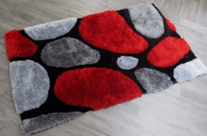 STYLISH THICK SUPER SOFT FLUFFY 3D DEEP TEXTURED DEEP PILE PLAIN SHAGGY RUGS MAT RED COLOUR